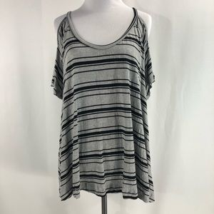 Lush Cold Shoulder Striped Flowy Top Size Large
